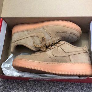 Tan Nike Air Force ones